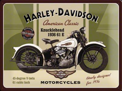Harley Davidson groen Knucklehead 30x40cm