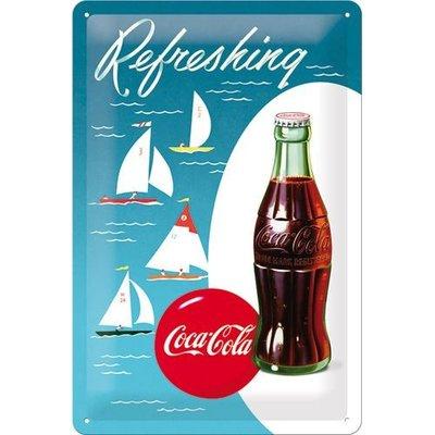 Coca Cola flesje met zeilboot 20x30 cm