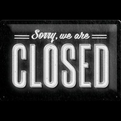 Sorry we are closed 3D 20x30CM