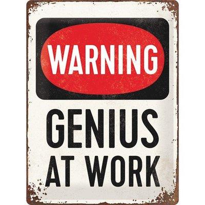 Warning Genius at work 3D 30x40CM